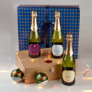 Three bottles of Fox & Fox gold medal winners in a wooden presentation box, with free gift wrap