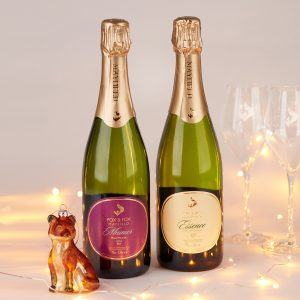 Two bottles of English sparkling wine from Sussex by Fox & Fox