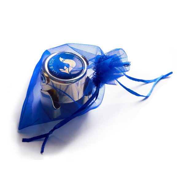 Fox and Fox sparkling wine stopper in blue organdie bag