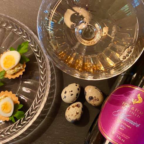 Fox & Fox Meunier Sparkling Rosé with Quails' Eggs Appetiser